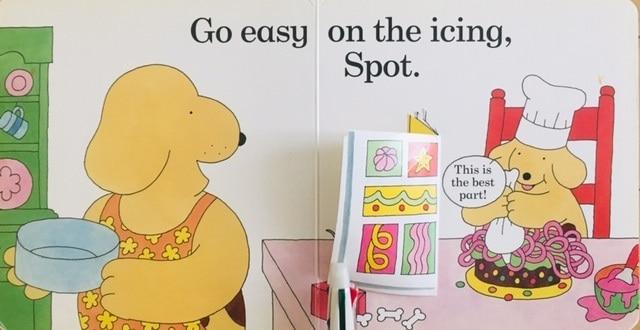 """コロちゃんのケーキづくりの英語絵本""""Spot Bakes a Cake""""は1歳から読める"""